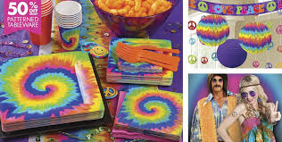 themed party supplies tie dye 60s theme party supplies party city