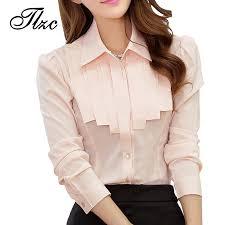 s blouse charm office white chiffon shirts size s 2xl ruffled ol