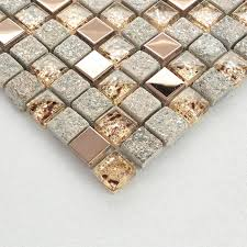 Natural Stone And Glass Mosaic Sheets Stainless Steel Backsplash - Glass and metal tile backsplash