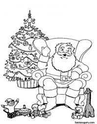 christmas santa claus relaxing chair coloring pages printable