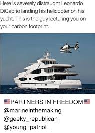Yacht Meme - here is severely distraught leonardo dicaprio landing his