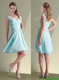chiffon off the shoulder aqua blue bridesmaid dresses with ruching
