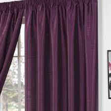 Aubergine Curtains Faux Silk Aubergine Damson Plain Curtains Pencil Pleat Curtains