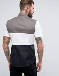 design hemd herren hemden schmales hemd in schwarz mit patchwork design