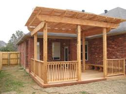 cedar deck arbor with decorative railing and benches 1st choice