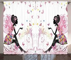 Kids Curtains Amazon Amazon Com Girls Curtains Decor By Ambesonne Pink Butterfly