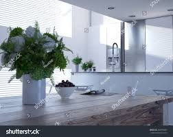 living room with kitchen design hydrangeas on rustic wooden table modern stock illustration