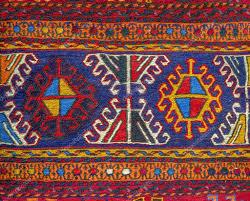 colorful peruvian fabric style rug surface close up u2014 stock photo
