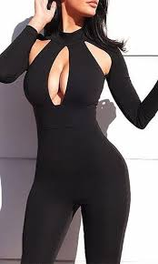 bodycon jumpsuit cat fight black sleeve cut out keyhole bodycon jumpsuit