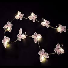 pair of battery operated beautiful led pink faux silk butterfly