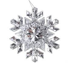 hanging acrylic faceted snowflake tree ornaments