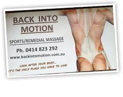 Sports Massage Business Cards Back Into Motion Sports Therapy U0026 Remedial Massage