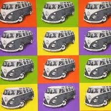 Camper Van Blinds Vw Campervan Print Cotton Hippie Happy Retro Fabric Designer