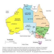 states australia map map of australia states and territories major tourist