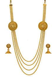 golden necklace women images Bindhani traditional multi strand long rani har haar golden jpg
