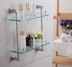 Bathroom Glass Shelves With Towel Bar Stainless Steel Brushed Nickel Bathroom Glass Shelf Cosmetic Rack