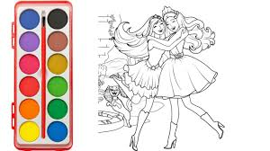 how to draw barbie princess 5 learning color with barbie