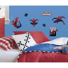 amazing spider man wall decals groovy kids gear ultimate spiderman peel and stick wall decals 22 count