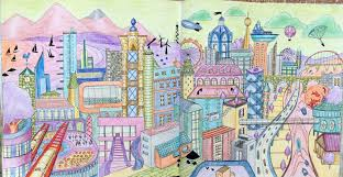 dream cities an imaginary city done in opposite colours