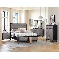 contemporary gray and black 6 piece queen bedroom set raku rc