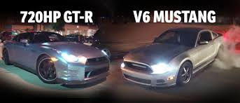 nissan gtr vs mustang can a v6 mustang with nitrous beat a 720hp gt r in a street race