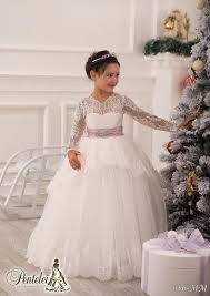 jewel long sleeves sash lace ball gown baby birthday party