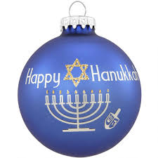 happy hanukkah with glitter glass ornament religious christmas