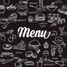 black and white cafe menu cover with food and drink icons stock