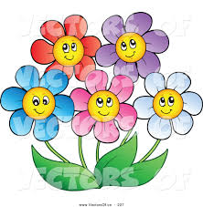 five clipart happy flower pencil and in color five clipart happy