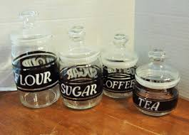 black and white glass canisters set of 4 clear jars black