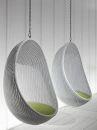 Enclosed Egg Chair Furniture Nice Looking White Woven Rattan Two Hanging Egg Chair