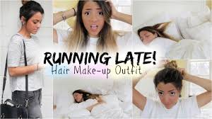 quick and easy hairstyles for running get ready with me running late quick hair fixes make up outfit