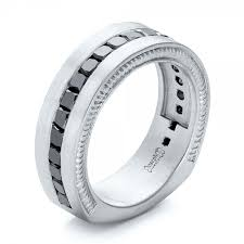 palladium ring custom black diamond and brushed palladium men s band 102044