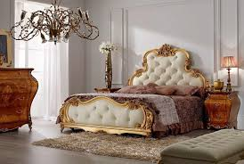 king size bed with glamour gold headboard with leather tufted