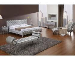 Modern Bed Set Platinum Edition Bedroom Set W Modern Bed With Crystals 44b196set