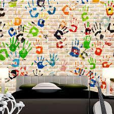 d oration murale chambre enfant personnalisé 3d papier peint creative palm graffiti murale papier