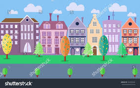 city street colorful housestrees shrubs road stock illustration