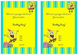 Birthday Invitation Cards Printable Templates Spongebob Birthday Invitations