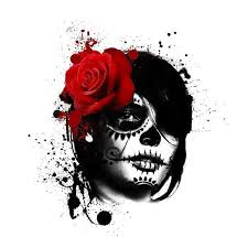 polka day of the dead tattoo design