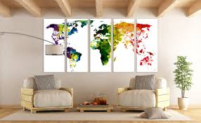 Etsy World Map by Large World Map Panels Poster Decor Canvas World Map Print Multi
