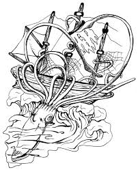 pirate ship vs squid tattoo sketch real photo pictures images