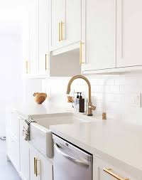 white kitchen cabinets with gold pulls semihandmade makes chic doors for ikea cabinets purewow