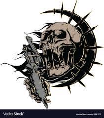 tattoo gun sketch skull with tattoo machine logo royalty free vector image