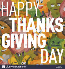 vector illustration postcard happy thanksgiving day postcard with