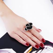 big stone rings images Latest design flower engagement rings made with black amp white jpg
