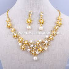 new gold set gold pearl necklace set fashion new designer gold necklace