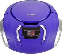 sylvania portable cd boombox with am fm radio purple portable