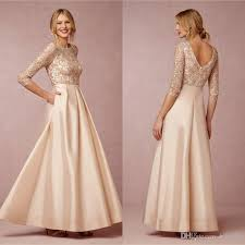 Wedding Evening Dresses Elegant 3 4 Long Sleeve Mother Of Bride Dresses 2015 Spring Lace