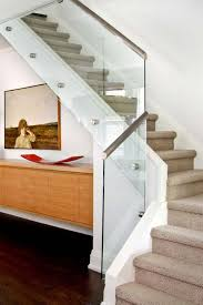 modern house with mounted sideboard and stainless steel stair