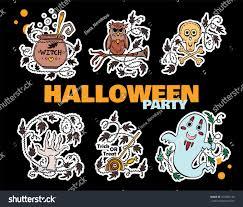 vector set kawaii halloween icons stickers stock vector 470405156